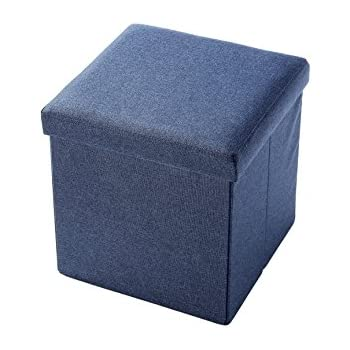 Linen, Folding, Wooden, Storage Cube / Ottoman Foot Rest 15 Inches, Blue