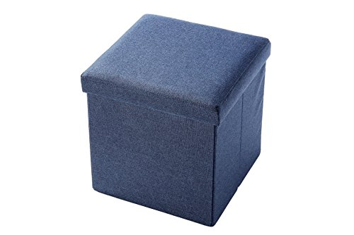 Linen, Folding, Wooden, Storage Cube / Ottoman Foot Rest 15 Inches, Blue by Juvale