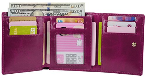 YALUXE Womens Compact Leather Tri fold