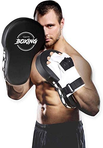Color : Blue Color : Silver, Size : 25x18.5x4cm 1yess Boxing Hand Targets Leather Curved Punch Mitts Boxing Focus Training Pads for Adults Teenages Kickboxing Karate