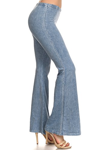 Light Blue Tie Dye - Zoozie LA Women's Bell Bottoms Yoga Stretch Pants Tie Dye Light Blue 2X Also fits 3X