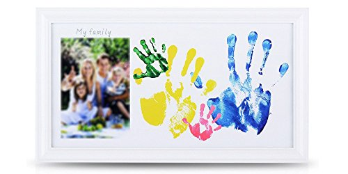NWK DIY Family Photo + Family/Baby Hand/Footprints Kit with 10 X 17'' Elegant White Wood Picture Frame, Non-Toxic Watercolor Paints, Family Gift, Baby Shower Registry Keepsakes