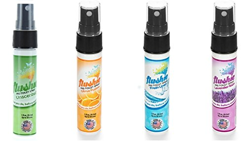 Travel Purse Spray - Flushie Pre-Toilet Spray 1- Ounce Travel Size (4pack- citrus, linen, lavender, unscented), Toilet Spray, Bathroom Deodorizer, Poop Spray, Before You Go Spray, Perfect For Travel, Fits In Any Purse
