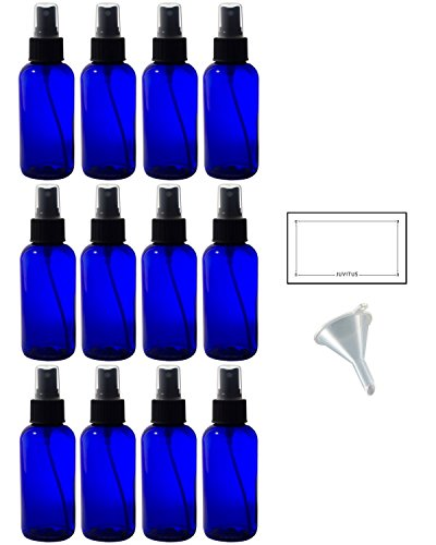 4 oz Cobalt Blue Glass Boston Round Fine Mist Spray Bottle (12 pack) + Funnel and Labels for essential oils, aromatherapy, food grade, bpa free