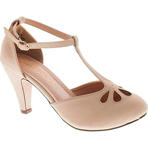 Chase & Chloe Kimmy-36 Women's Teardrop Cut Out T-Strap Mid Heel Dress Pumps (7, Nude Nubuck) (Retro Nude)