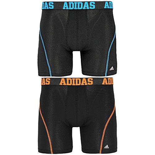 Adidas Mens Plush (adidas Men's Sport Performance Climacool Boxer Brief Underwear (2 Pack), Black/Solar Blue/Solar Orange, Medium)