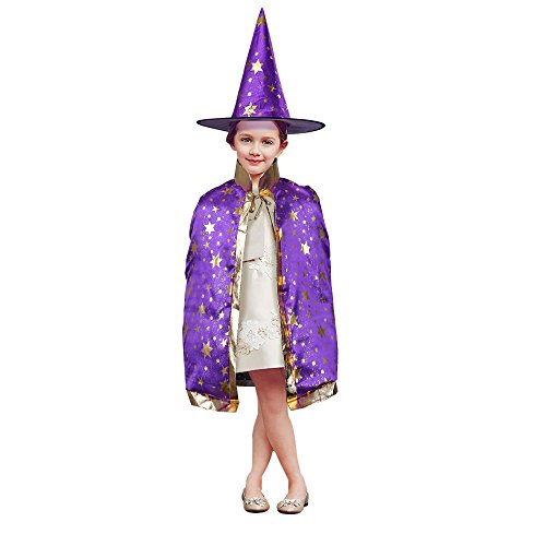 Witch Costume Kitchen (TOPQSC Halloween Stars Cloak Witch Wizard Set Five Star Cape Costumes with Hat Unisex Kid Coat Gown Robe for Christmas and Cosplay Party Dress)