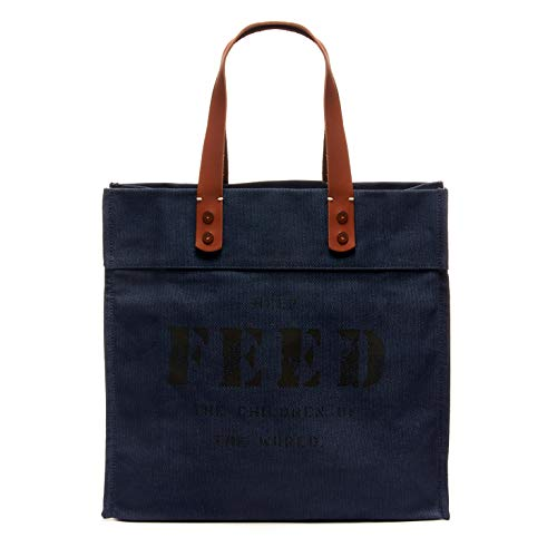 FEED Canvas Women's Market Tote with Leather Handles for Shopping Work Travel and School - Navy ()