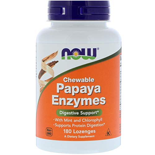 Now Papaya Enzyme Chews With Mint And Chlorophyll 180 Ct