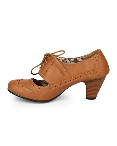 Refresh Women Leatherette Cut Out Lace Up Chunky Heel Spectator Pump CH01 - Tan Leatherette (Size: 7.0) by Refresh (Image #3)