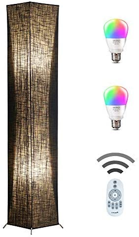 Floor Lamp, CHIPHY Modern Standing Lamp, Color Changing and Dimmable Smart RGB Bulbs, Black Linen Shade and Romote Control, Tall Light for Living Room, Bedroom and Office 10 10 61 inches