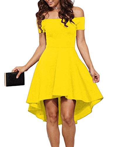 Sarin Mathews Women Off The Shoulder Short Sleeve High Low Cocktail Skater Dress Yellow -