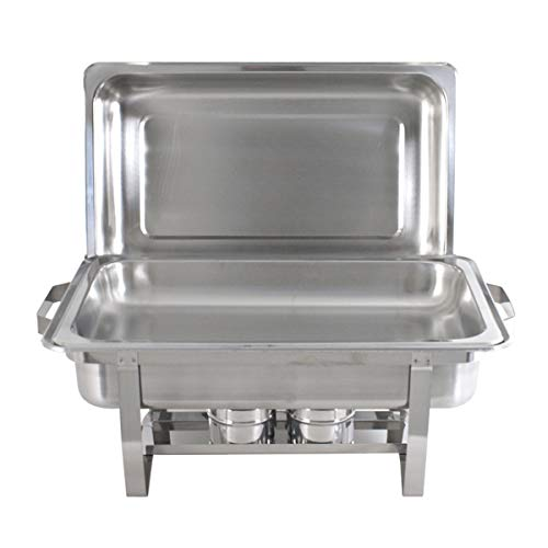 SUPER DEAL 8 Qt Stainless Steel 4 Pack Full Size Chafer Dish w/Water Pan, Food Pan, Fuel Holder and Lid For Buffet/Weddings/Parties/Banquets/Catering events (4) by SUPER DEAL (Image #4)