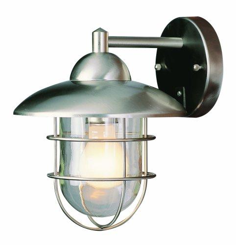 Trans Globe Lighting 4370 ST Coastal Coach 8-Inch Outdoor Wall Lantern, Stainless Steel
