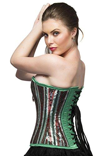 覆すイースターグローバルGreen Satin Sequins Gothic Burlesque Waist Training Bustier Overbust Corset Top