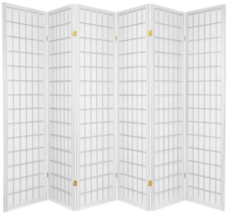 Legacy Decor 6-Panel Japanese Style Room Screen Divider White Finish ()