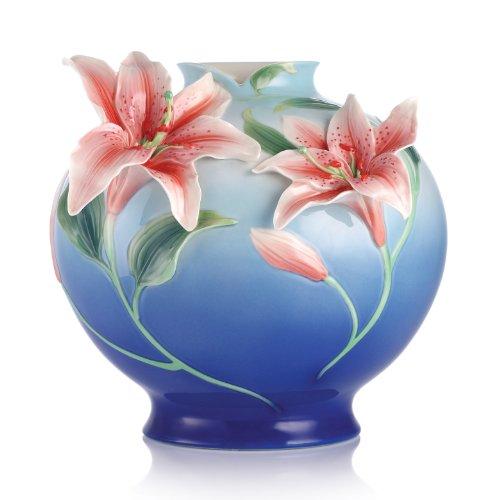 FZ03093 Franz Porcelain Numerous Blessings Lily Design Sculptured Vase 12-5/8X12-1/4X12 inches - Vase Sculptured Porcelain Design
