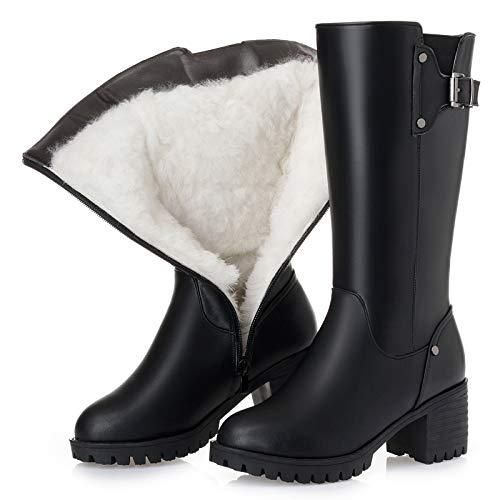 Shukun Bottes Bottes en PU pour Enfants avec Tube en Coton épais et Bottes Larges en Coton épais dans Le Bas de la Chaussure mère en Coton noir plus cotton