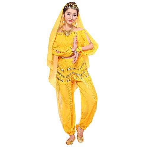 Teresamoon Girl Elegant Belly Sequins Dance Costume Set (Yellow) (Dance Racks Costumes)