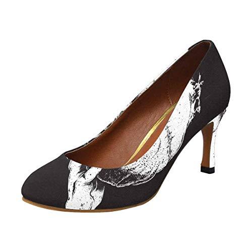 Black Flame Platform Womens Shoes - INTERESTPRINT Womens High Heels Pull On Fashion Dress Pump Black and White Skull in Flames 11 B(M) US