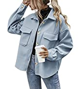 Himosyber Women's Casual Lounge Solid Lapel Wool Blend Open Front Button Down Jacket Shacket