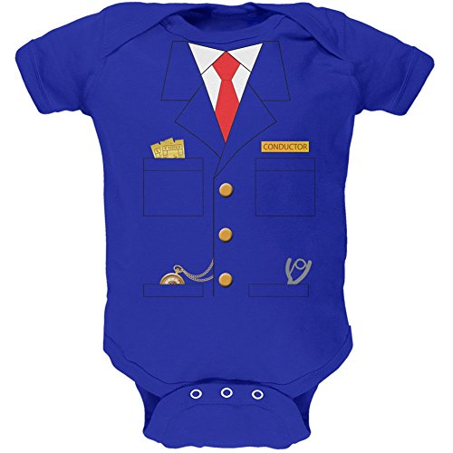 [Halloween Train Conductor Costume Royal Soft Baby One Piece - 3-6 months] (Toddler Conductor Outfit)