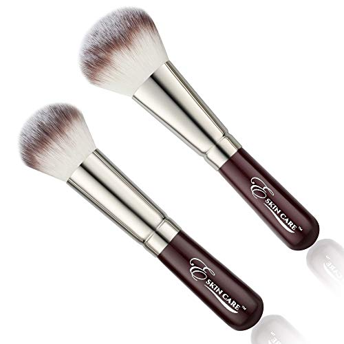 - Powder and Blush Makeup Brushes for Mineral and Pressed Foundation - Large Fluffy Bristles Provide Blending for a Natural Fresh Look Flawless Coverage and Smooth Finish - 2 Pc
