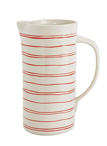 Spouted Handled Casual Country - 56 ounce - Glossy Ceramic Stoneware Pitcher, Cream with Hand Painted Red Stripes