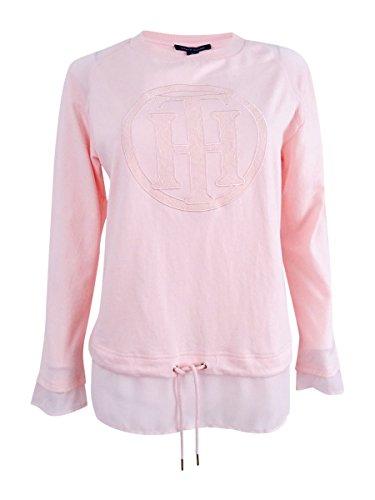 s Sheer Trim Monogram Sweatshirt Pink L ()