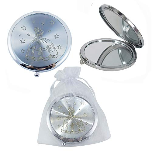 Makeup Compact Mirror Favor Cinderlla 12PCS Quinceanera Round Pocket Purse Hand Mirror Cenicienta wih Organza Gift Bag Girl -