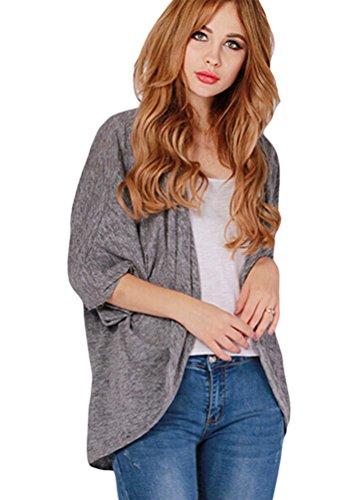 Chale Gris Cartigan Chauve Femmes Blouson ZKOO Automne Manches Outwear Cardigan Veste Souris LaChe AH7wz