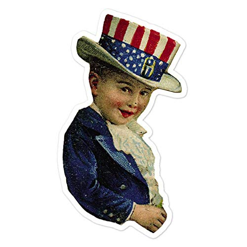 Child In Independence Day Outfit - Vintage Holiday Painting - Vinyl Decal Sticker - 3.75
