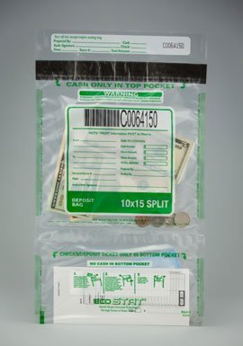 "Tamper Evident Plastic Deposit/Cash Bags, 10"" x 15"" Clear, Vertical Twin Pockets 100 Bags/Box."