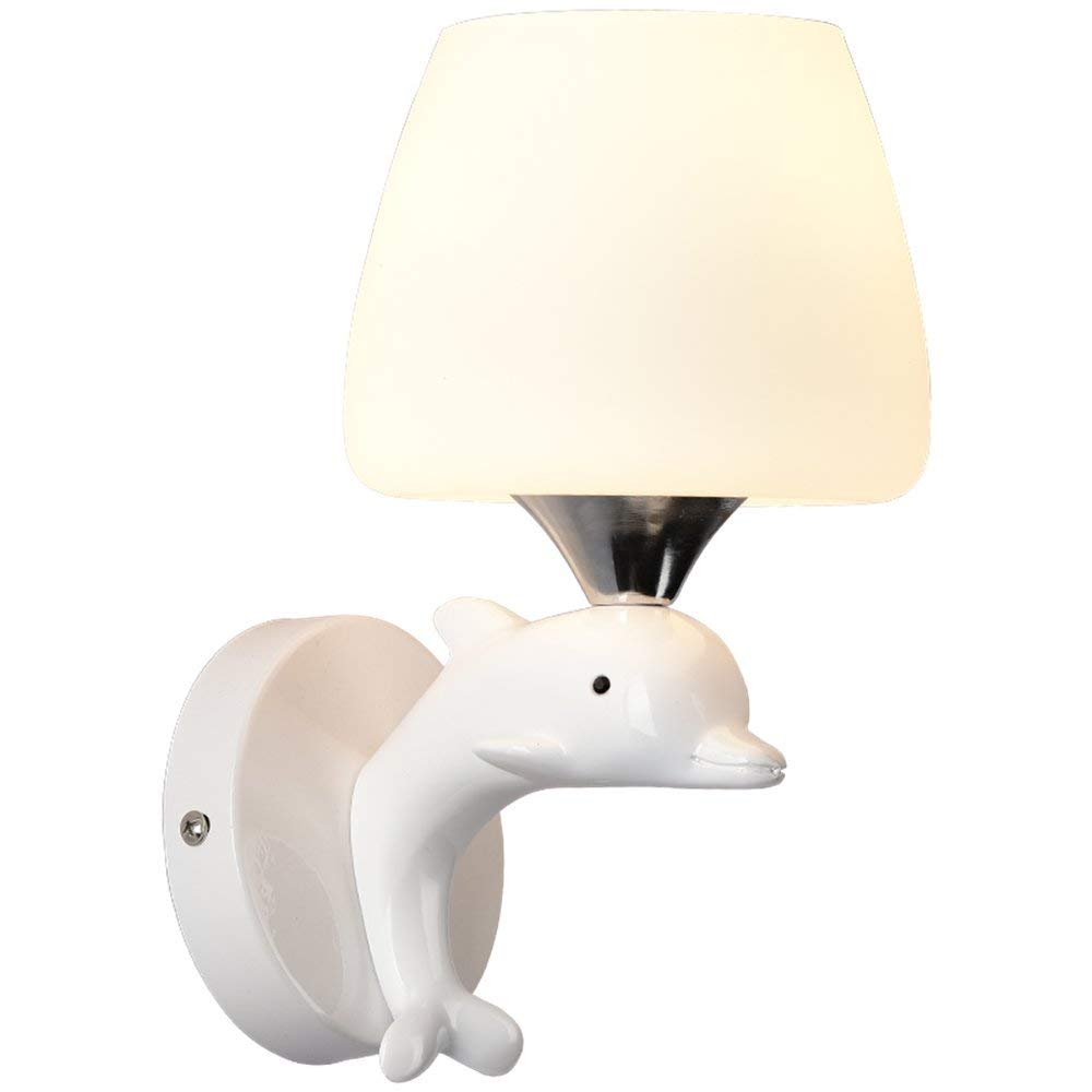 FXING Wand Beleuchtung Wandleuchten Hängeleuchten Moderne, einfache Warme Kinder Schlafzimmer Nachttischlampe Kreative Beleuchtung Harz Dolphin Wandleuchte, Doppel Kopf, L30W17H 23 cm