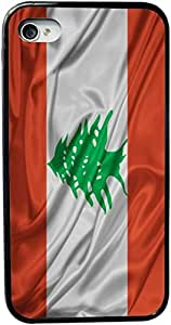 Rikki KnightTM Lebanon Flag Design iPhone 5 & 5s Case Cover (Black Rubber with bumper protection) for Apple iPhone 5 & 5s