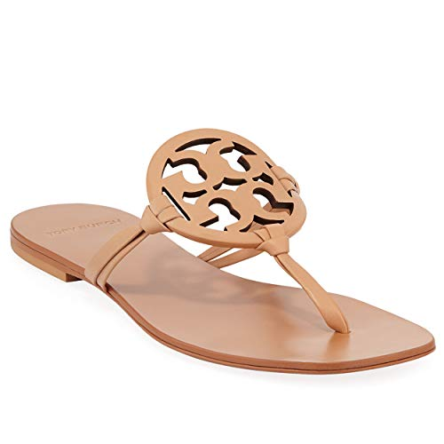 - Tory Burch Flip Flop Miller Square Toe Flat Sandal Leather (8.5, Natural Vachetta)