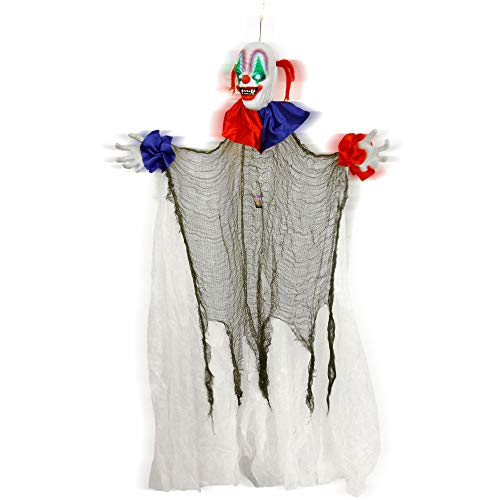 Halloween Haunters 5 Foot Animated Hanging Spinning Scary Circus Clown Prop Decoration - Evil Body Rotates, Music, Laughs, Eyes Strobe Colors, Menacing Ghoul Smile - Haunted House, Battery Operated