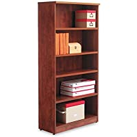 Alera VA636632MC Valencia Bookcase, 5-Shelf, 31-3/4w x 14d x 65h, Med.Cherry