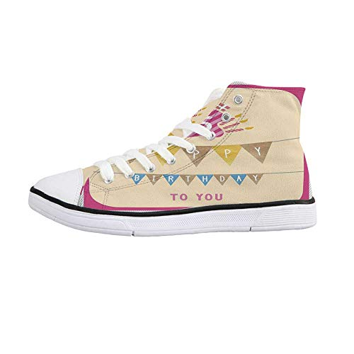 15th Birthday Decorations Comfortable High Top Canvas Shoes,Pastel Colored Framework Flags Presents and Candles Greeting for Women Girls,US 7.5