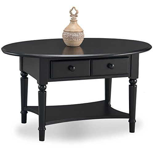 Leick 20044-BK Coastal Oval Coffee Table with Shelf, Swan Black (Black Oval Cocktail Table)