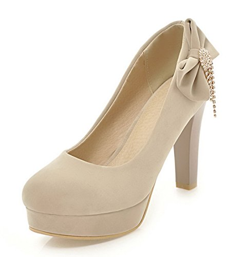 Odomolor Women's Closed-Toe Pull-On Pu Studded High-Heels Pumps-Shoes Beige