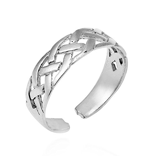 AeraVida Interwoven Celtic Knot .925 Sterling Silver Toe Ring or Pinky Ring ()