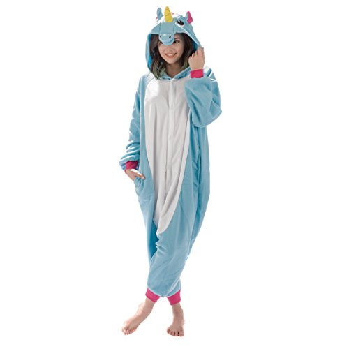Emolly Fashion Adult Unicorn Animal Onesie Costume Pajamas for Adults and Teens (Small, Blue) ()