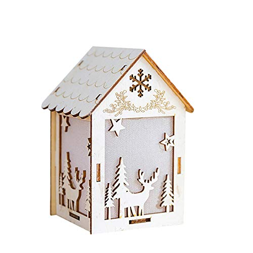 - Iusun Christmas Tabletop Decorations Wooden Dolls House LED Lamp Hanging Xmas Tree Snowman Deer Santa Claus Bell Pendants DIY Ornament Wedding Party Holiday New Year Decor (B2,14.5x8.5x7.5 cm)