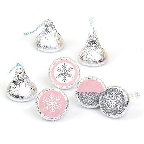 Pink Winter Wonderland - Holiday Snowflake Birthday Party or Baby Shower Round Candy Sticker Favors - Labels Fit Hershey's Kisses (1 Sheet of 108)