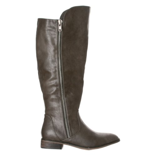 Breckelles Womens Clayton-12 Zipper Riding High Boots Grigio