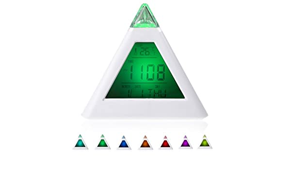 Amazon.com: 1pc 7 LED Color Changing Pyramid Digital LCD Snooze Alarm Clock Triangle Thermometer C/f Relogio De Mesa Reloj Despertador: Home & Kitchen