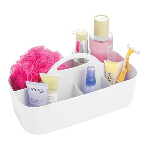 (mDesign Plastic Portable Storage Organizer Caddy Tote - Divided Basket Bin with Handle for Bathroom, Dorm Room - Holds Hand Soap, Body Wash, Shampoo, Conditioner, Lotion - Large - White)