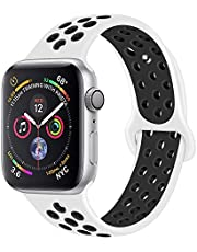 RDX Compatible Sport Band Apple Watch 38mm 40mm Silicone Strap Replacement Wristband iWatch Series 4/3/2/1 Nike- S/M - (White/Black)