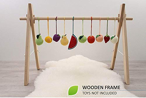 WIDE Wooden baby gym frame, foldable play gym, activity gym gender neutral, hanging bar, baby play gym bar, wood, non toxic, organic by LanaCrocheting